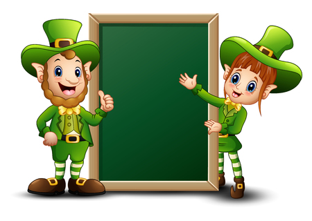 women s hat: Man and girl cartoon leprechaun with green chalkboard