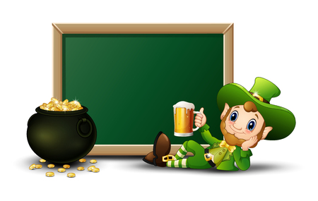 Cartoon Leprechaun holding a mug beer with chalkboard and pot of gold coins Illustration