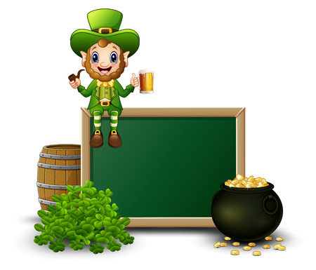 Cartoon leprechaun sitting above chalkboard with a beer and smoking pipes