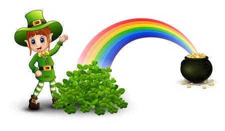 Cartoon girl leprechaun standing near the rainbow with pot full of golden coins and clovers