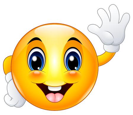 Emoticon de la historieta cara sonriente que agita hola