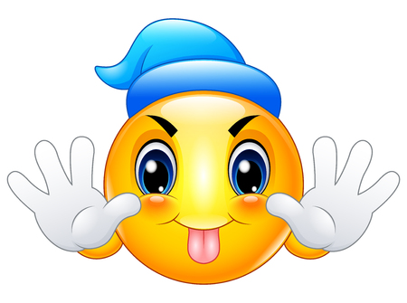 Cartoon emoticon sticking out his tongue Illustration
