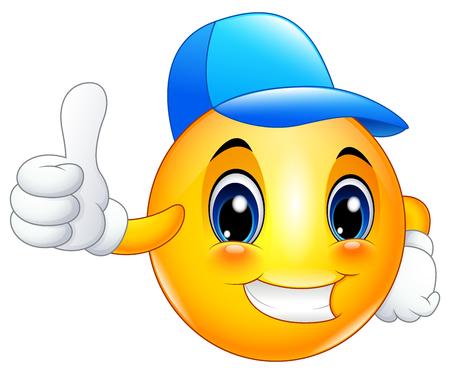 Buźka emotikon kreskówka w czapce i podając kciuki w górę Ilustracje wektorowe