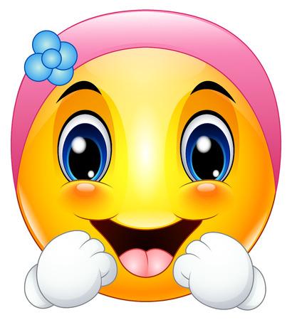 Female emoticon cartoon wearing a headbands