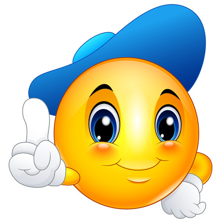 Cartoon emoticon smiley wearing a cap and pointing