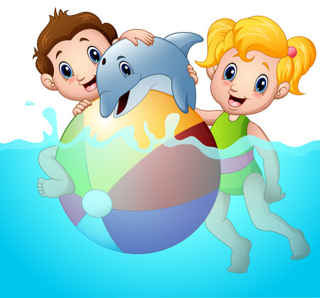 woman floating: Vector illustration of Cartoon boy and girl playing beach ball with dolphin on water
