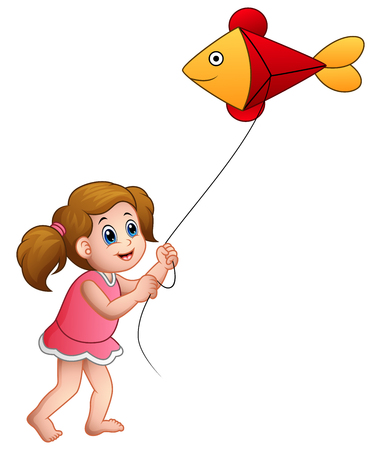 Vector illustration of Cartoon girl playing kite shaped of fish