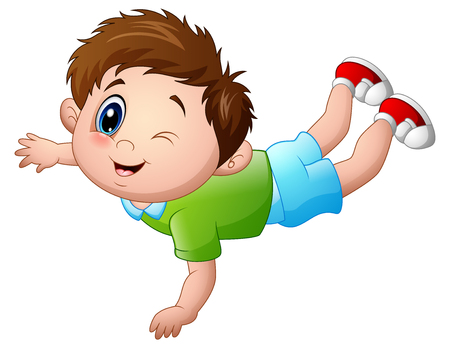 playmates: Ilustración vectorial de lindo niño pequeño de dibujos animados propensos Vectores