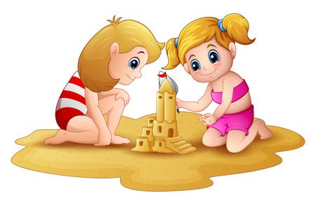 Vector illustration of Two little girl making sandcastle at beach 일러스트