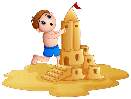 Vector illustration of Little boy making a big sandcastle at beach Illustration