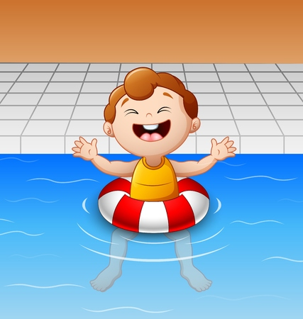 swim cap: Happy little boy floating in swimming pool with inflatable circle