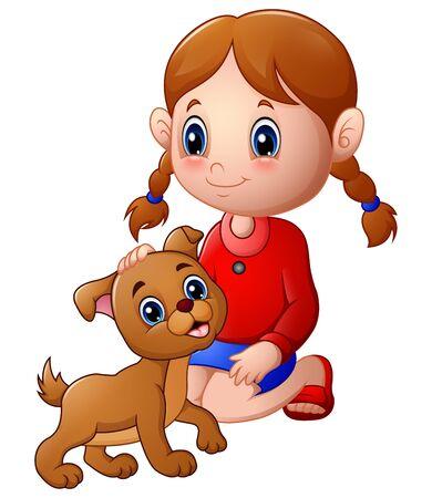 rub: Cartoon little girl stroked the dogs head