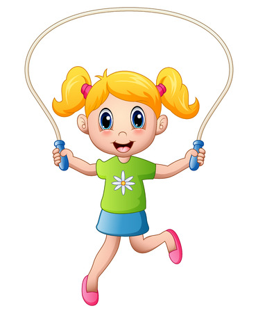 Cartoon little girl playing jumping rope Stock Photo
