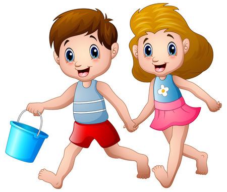 Cartoon boy and girl running Stock Photo