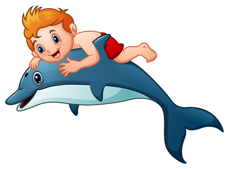 Little boy cartoon riding dolphins