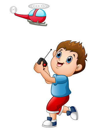 Cartoon boy playing with quadcopter