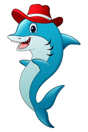killer waves: Funny shark cartoon wearing a hat Illustration