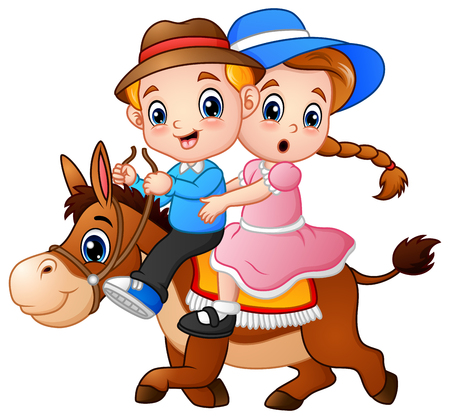 Cartoon boy and girl riding a horse 版權商用圖片