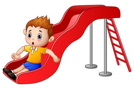 playhouse: Little boy cartoon playing on a slide