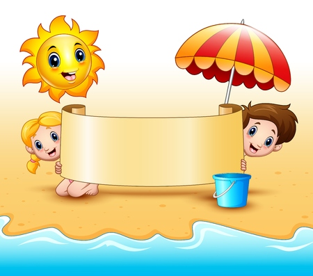 Summer kids holding a paper scrolls with sun smiling and umbrellas at beach Stock Photo