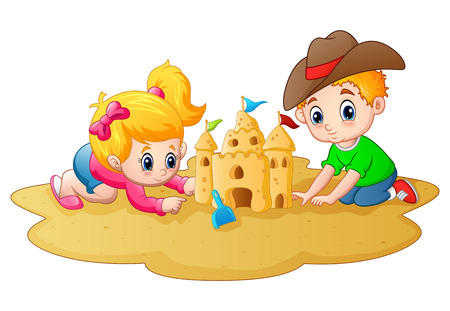 Little boy and girl making sandcastle at beach