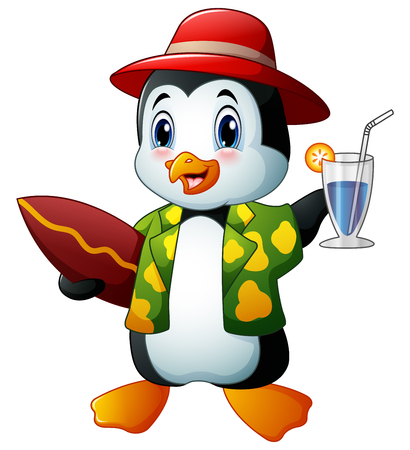 Cartoon penguin with cocktail drink and surfboard Illustration