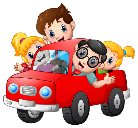 Happy family travelling with car