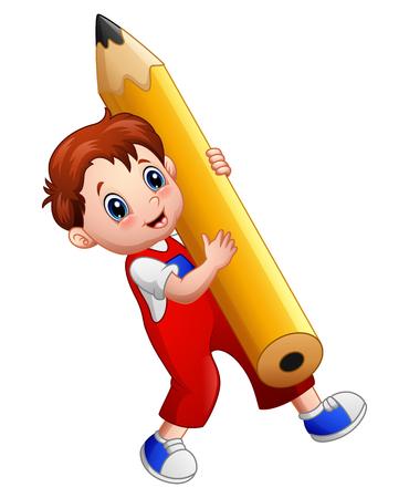 niño parado: Muchacho de la historieta que sostiene un lápiz grande Foto de archivo