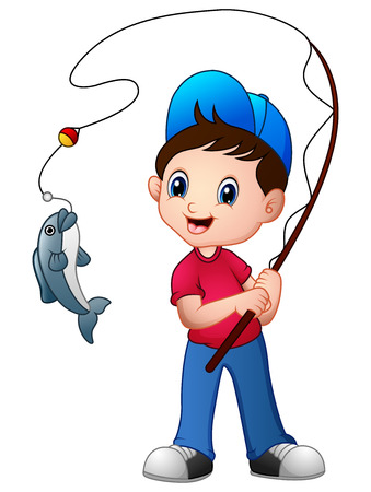 Cute cartoon boy fishing. Stock Photo
