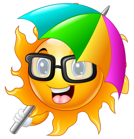 lurk: Cartoon Character of sun in sunglasses with umbrella Stock Photo