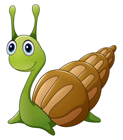 dna smile: Cute snail cartoon Stock Photo