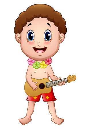 Hawaiian boy playing a guitar