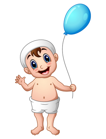 baby playing toy: Baby boy waving with holding a balloon