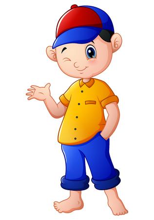 hand stand: Happy cartoon boy waving Stock Photo