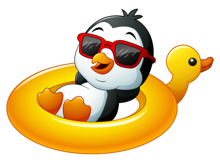 Cartoon penguin relaxing on the inflatable duck Stockfoto