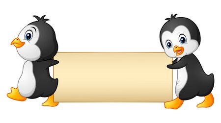 Two penguins cartoon holding a blank banner Stock Photo