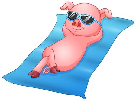 Cartoon piglets sunbathing on beach