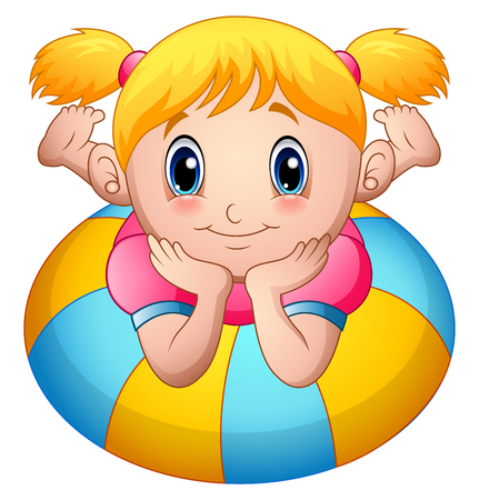 Little girl cartoon lay down above an inflatable ring