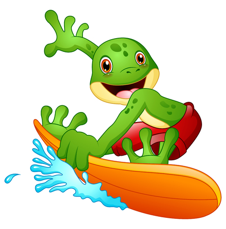 Cartoon frog surfing