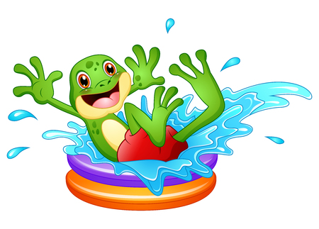 Funny frog cartoon sitting above inflatable pool with water splash