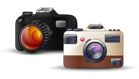 Digital photo camera on white background.