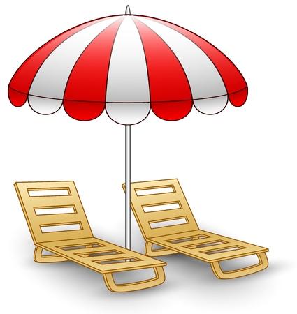 Two beach chairs under sunshade.