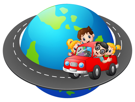 Family travels with the car around the world.