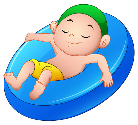 Cartoon boy relaxing above an inflatable ring Çizim