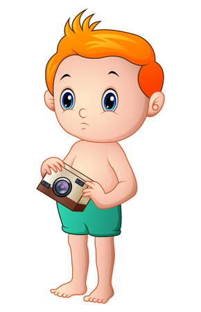 baby playing toy: Little boy cartoon holding a camera