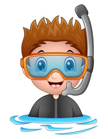 free diver: Snorkeling boy cartoon