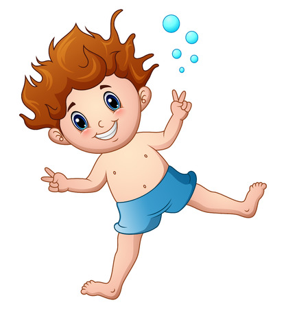 Cartoon boy in swimsuit jumping Illustration