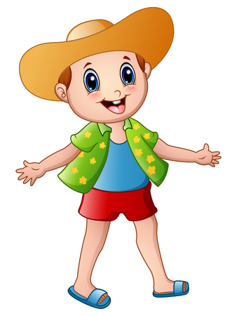Happy boy cartoon with summer clothes and a hat 版權商用圖片 - 76752364