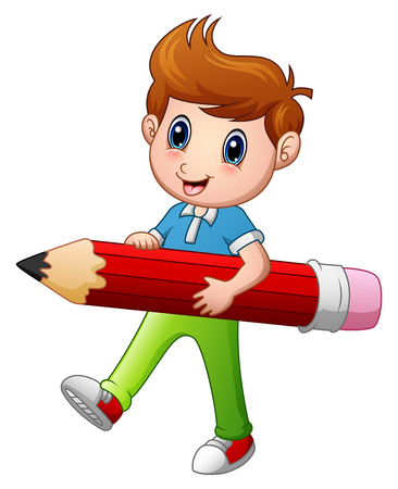 Cartoon boy holding a pencil. Illustration