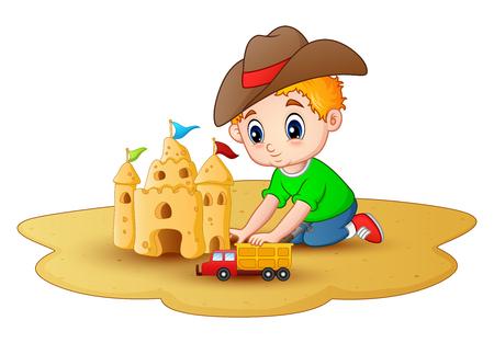 enfant maillot de bain: Petit garçon faisant un château de sable avec une voiture jouets à la plage